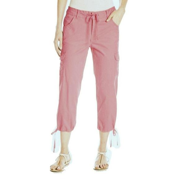 Caribbean Joe Pants - Caribbean JoeTie-Leg Cargo Capris Pink Women